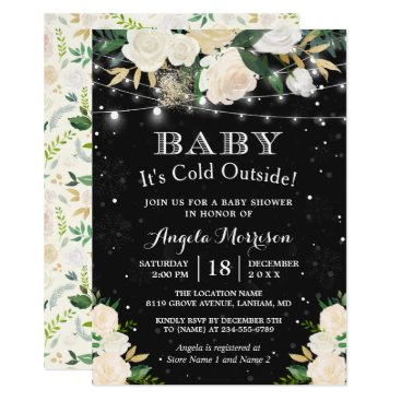 Christmas Themed Baby It's Cold Outside Floral Winter Baby Shower Card