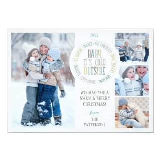 Baby It's Cold Outside Fun Winter Holiday Photo Personalized Announcement