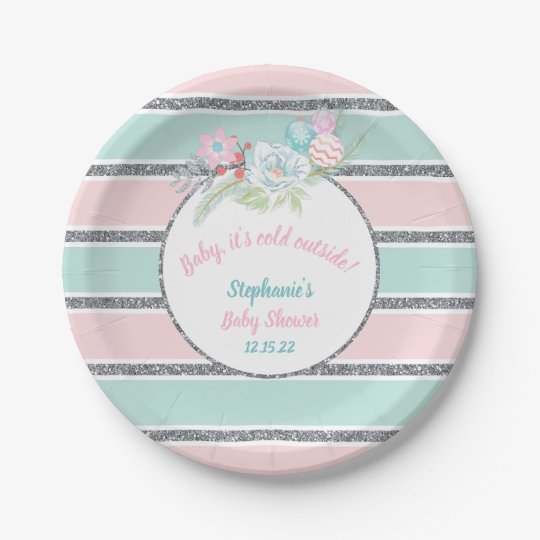 Baby Its Cold Outside Girl Baby Shower Decor Paper Plate Zazzle