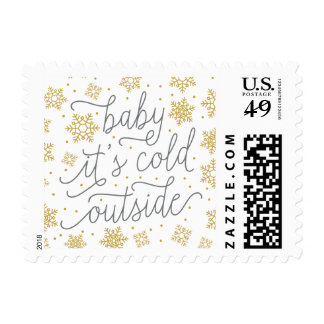 Baby It's Cold Outside Gold Winter Baby Shower Postage Stamp