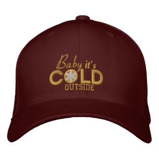 Baby It's Cold Outside Golden Snowflake Embroidered Baseball Cap