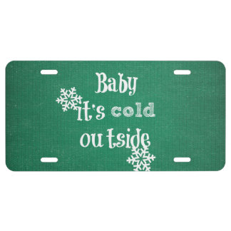 Baby it's Cold Outside: Green Faux Sweater License Plate