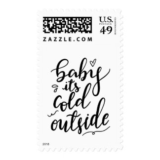 Baby Its Cold Outside Handwritten Black Script Postage