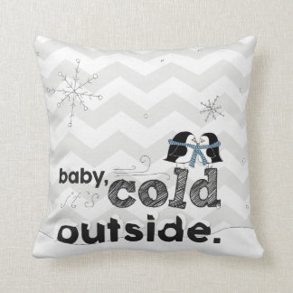 Baby, it's Cold Outside Lovebird Penguin Pillow