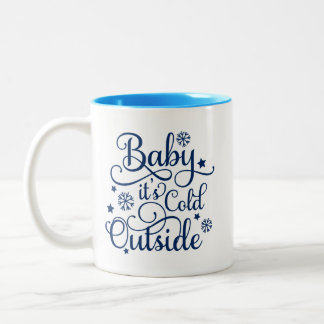 Baby It's Cold Outside | Navy Holiday Two-Tone Coffee Mug