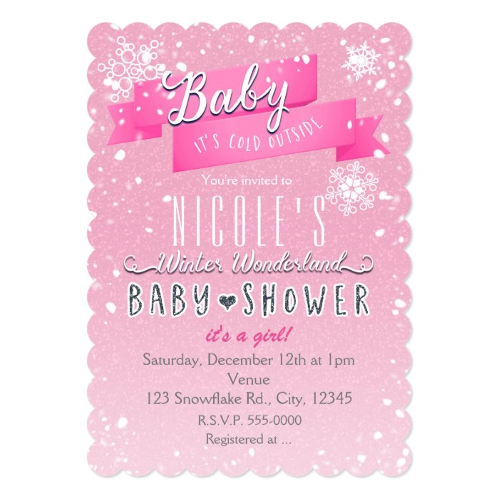 baby it 39 s cold outside pink baby shower invitation zazzle