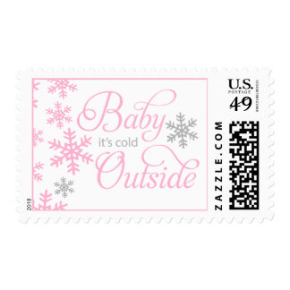 Baby It's Cold Outside Pink Baby Shower Postage