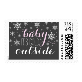 Baby it's Cold Outside Pink Baby Shower Stamp