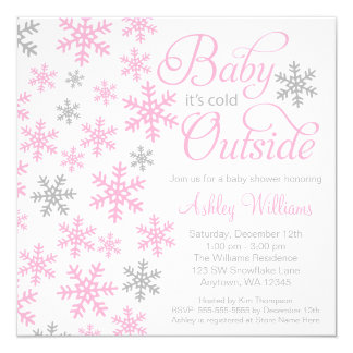 Baby It's Cold Outside Pink Gray Baby Shower Card
