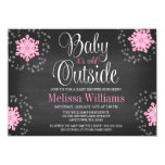 Baby It's Cold Outside Pink Snowflakes Baby Shower 4.5x6.25 Paper Invitation Card