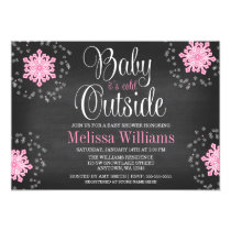 Baby It's Cold Outside Pink Snowflakes Baby Shower Card