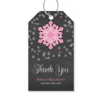Baby It's Cold Outside Pink Snowflakes Baby Shower Gift Tags