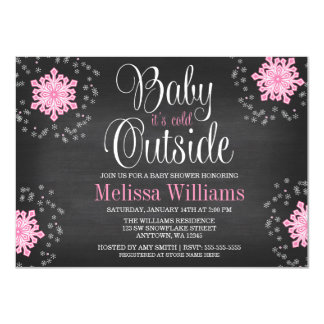 Baby It's Cold Outside Pink Snowflakes Baby Shower Custom Invite