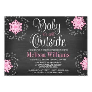Baby It's Cold Outside Pink Snowflakes Baby Shower Invite