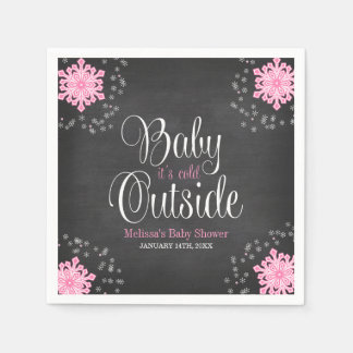 Baby It's Cold Outside Pink Snowflakes Baby Shower Napkin