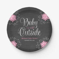 Baby It's Cold Outside Pink Snowflakes Baby Shower Paper Plate
