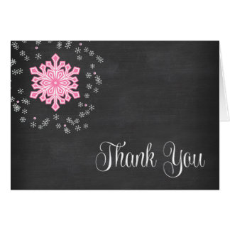 Baby It's Cold Outside Pink Snowflakes Thank You Card