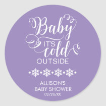 Baby It's Cold Outside Purple Baby Shower Sticker