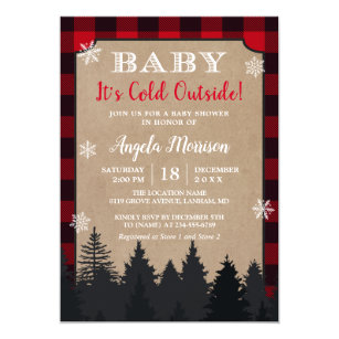 Baby Its Cold Outside Red Plaid Baby Shower Invitation