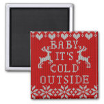 Baby Its Cold Outside Red Ugly Sweater Style 2 Inch Square Magnet