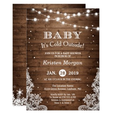 Christmas Themed Baby Its Cold Outside Rustic Winter Baby Shower Card