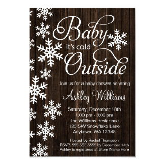 Baby It's Cold Outside Rustic Wood Baby Shower Card