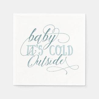 Baby It's Cold Outside Script Quote Napkin Blue