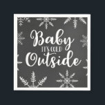 "Baby Its Cold Outside Silver Winter Baby Shower Napkin<br><div class=""desc"">Fun design features snowflakes on a chalkboard background with the words Baby It&#39;s Cold Outside. Features a silver &quot;it&#39;s cold&quot; wording so that it can be used for any gender!</div>"