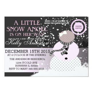 Baby its cold outside Snow Angel Baby shower 5x7 Paper Invitation Card