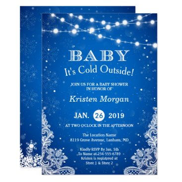 Christmas Themed Baby Its Cold Outside Snow Blue Winter Baby Shower Card