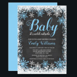 "Baby Its Cold Outside Snow Winter Boy Baby Shower Invitation<br><div class=""desc"">Trendy boy winter themed baby shower invitations. This stylish design features a blue and white snowflake border and script font on a chalkboard background.</div>"