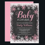 """Baby Its Cold Outside Snow Winter Girl Baby Shower Invitation<br><div class=""""desc"""">Trendy girl winter themed baby shower invitations. This stylish design features a pink and white snowflake border and script font on a chalkboard background.</div>"""