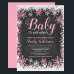 "Baby Its Cold Outside Snow Winter Girl Baby Shower Invitation<br><div class=""desc"">Trendy girl winter themed baby shower invitations. This stylish design features a pink and white snowflake border and script font on a chalkboard background.</div>"