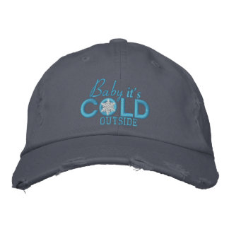 Baby It's Cold Outside Snowflake Baby Blue Embroidered Baseball Hat