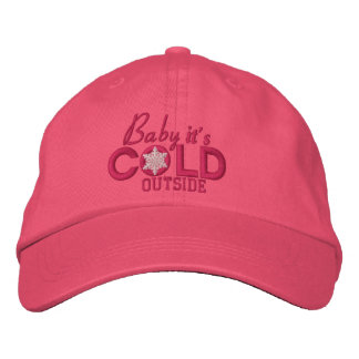 Baby It's Cold Outside Snowflake Girly Pink Embroidered Hat