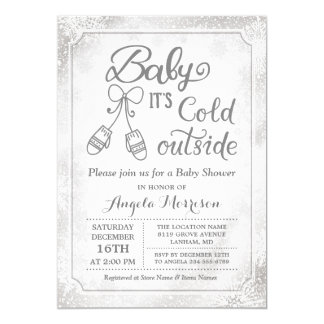 Baby Its Cold Outside Snowflake Winter Baby Shower Card