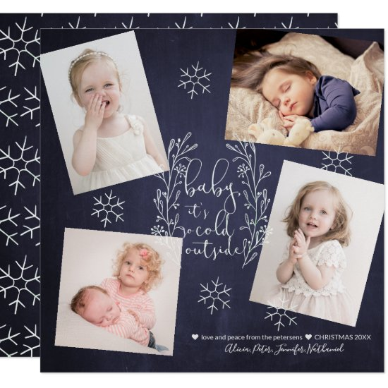 Baby It's Cold Outside Snowflakes 4 Photos Navy Invitation