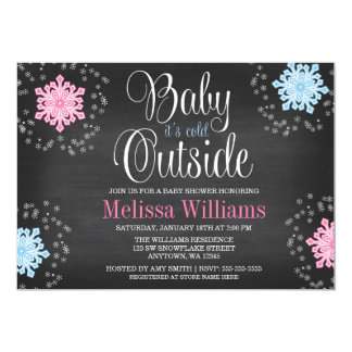 Baby It's Cold Outside Snowflakes Baby Shower Card