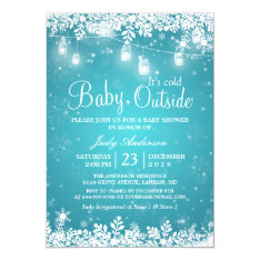 Baby Its Cold Outside Turquoise Winter Baby Shower Card at Zazzle