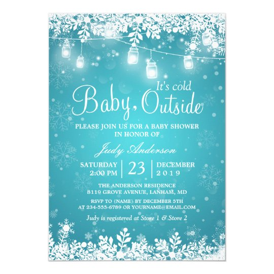 Superior Winter Baby Shower Invitations Baby Its Cold Outside Turquoise Winter Shower  Card On Baby Shower Invitation