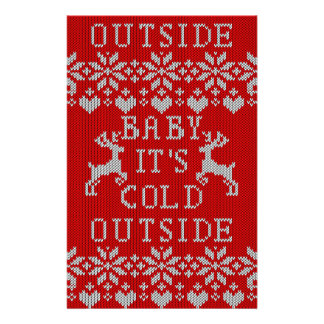 Baby It's Cold Outside Ugly Sweater red Style Flyer
