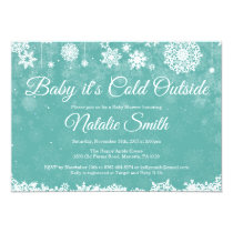 Baby Its Cold Outside Winter Aqua Baby Shower Invitation