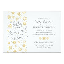 Baby It's Cold Outside Winter Baby Shower Gold Card