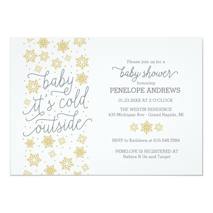 baby it 39 s cold outside winter baby shower gold card zazzle