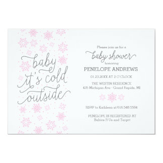 Baby It's Cold Outside Winter Baby Shower Pink Card