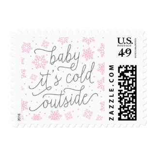 Baby It's Cold Outside Winter Baby Shower Pink Stamp