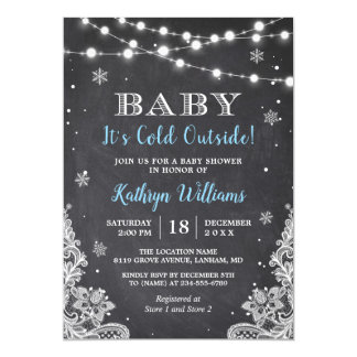 Baby It's Cold Outside Winter Boy Baby Shower Card