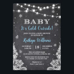 "Baby It's Cold Outside Winter Boy Baby Shower Invitation<br><div class=""desc"">Baby It"