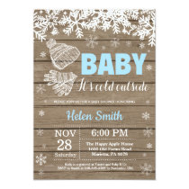 Baby its Cold Outside Winter Boy Baby Shower Invitation