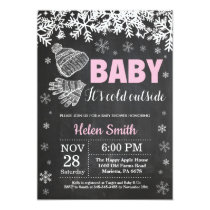 Baby its Cold Outside Winter Girl Baby Shower Invitation